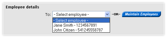Add a payroll template - employee details