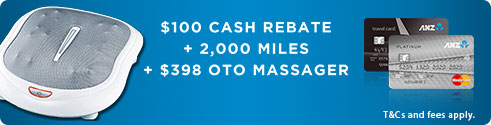 $100 Cash Rebate, +2,000 miles, +$398 OTO massager.
