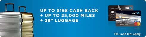 Up to $168 cash back + up to 25,000 miles + 28 inch luggage