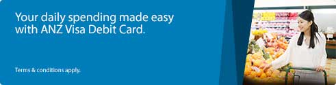 Your daily spending made easy with ANZ Visa Debit Card.