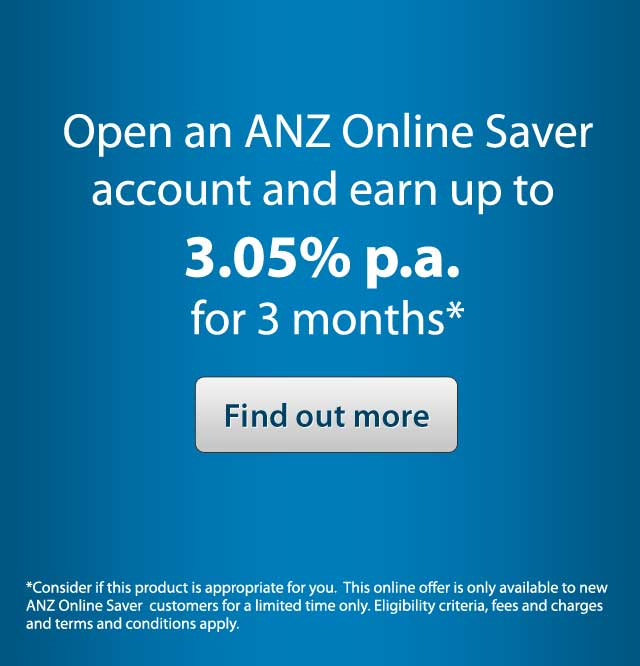 Open an ANZ Online Saver account and earn up to 3.05% p.a. for 3 months*