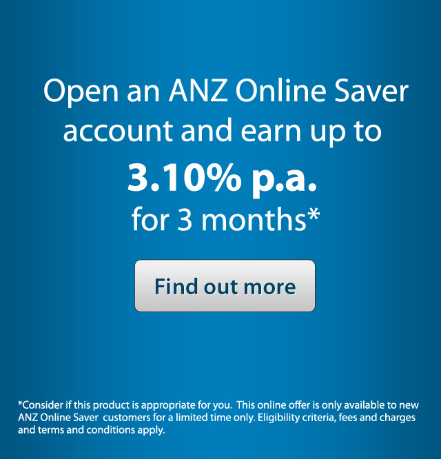 Open an ANZ Online Saver account and earn up to 3.10% p.a. for 3 months*