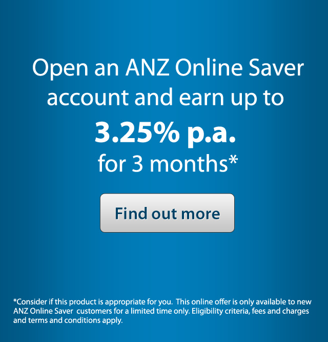 Open an ANZ Online Saver account and earn up to 3.25% p.a. for 3 months*