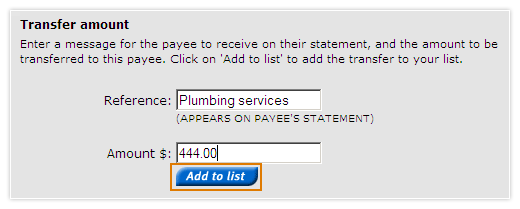 Make multiple Pay Anyone payments - transfer amount section