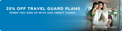 Travel Guard Enjoy 20% off with ANZ credit Cards and travel with peace of mind.