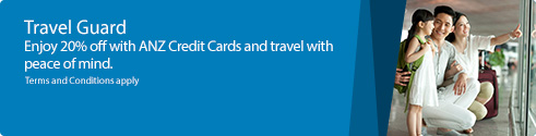 TravelGuard.Enjoy 20% off Travel Guard Plans + $30 Capitaland vouchers with ANZ Credit Cards
