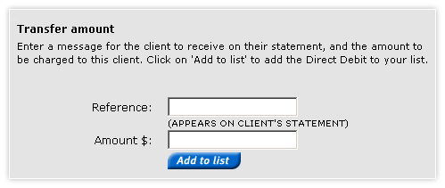 Add a direct debit template - payment details