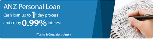 ANZ Personal Loan. Cash loan up to 1* day process and enjoy 0.99% interest. *Terms & Conditions Apply