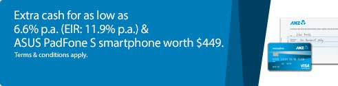 Extra cash for as low as 6.6% p.a.(EIR: 11.9% p.a.) & ASUS PadFone S smartphone worth $449.