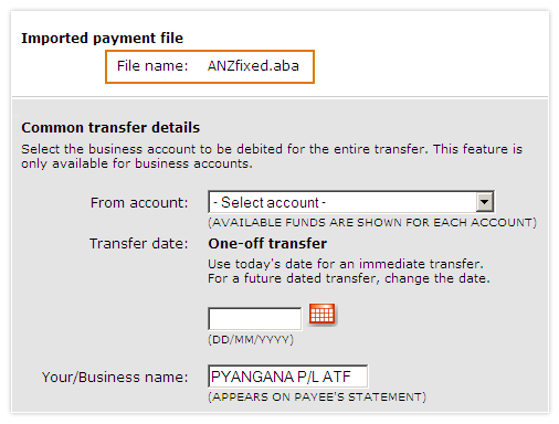 Import a payment file for multiple Pay Anyone