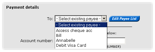 Make a Pay Anyone payment - payment details