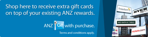 Shop here to receive extra gift cards on top of your existing ANZ rewards. ANZ Gift with purchase. Terms and conditions apply. Find out more.