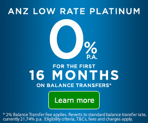 ANZ low rate platinum 0%p.a. for the first 16 months on balance transfers.