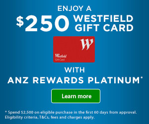$250 BACK TO YOUR NEW ANZ LOW RATE PLATINUM CREDIT CARD.