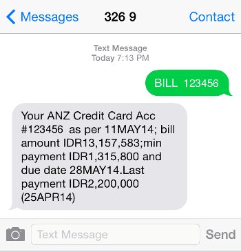 ANZ SMS Card Sample Screenshot