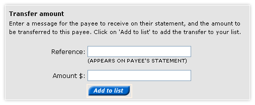 Make a payroll payment - transfer amount section