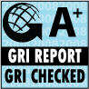 A+ Logo. GRI Report GRI Checked